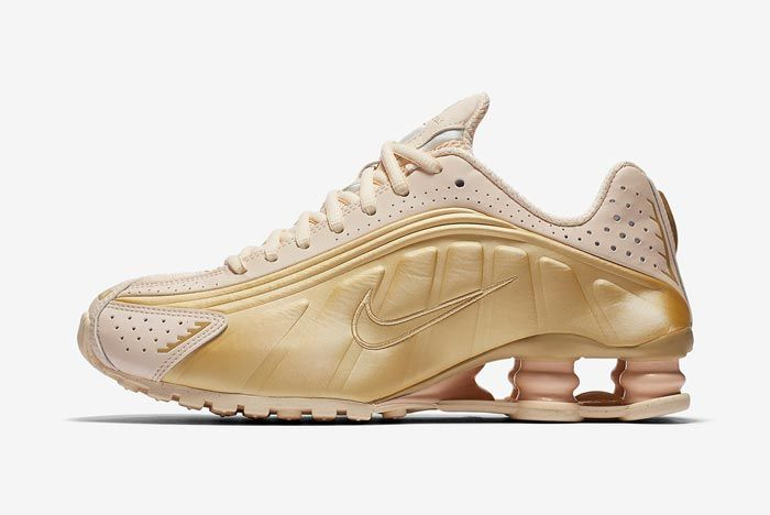Nike Shox R4 Guava Ice Metallic Gold Lateral