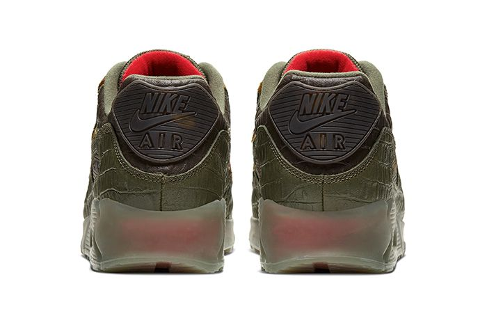 Nike Air Max 90 Cargo Khaki University Red Cu0675 300 Release Date Heel