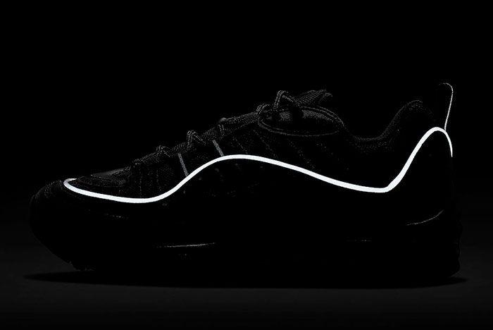 Nike Air Max 98 Black Off Noir Ah6799 004 Lateral Reflective