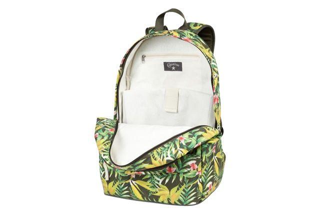 Converse Allstar Chukc Specialty Hawaiian Print Green Backpack Open 1