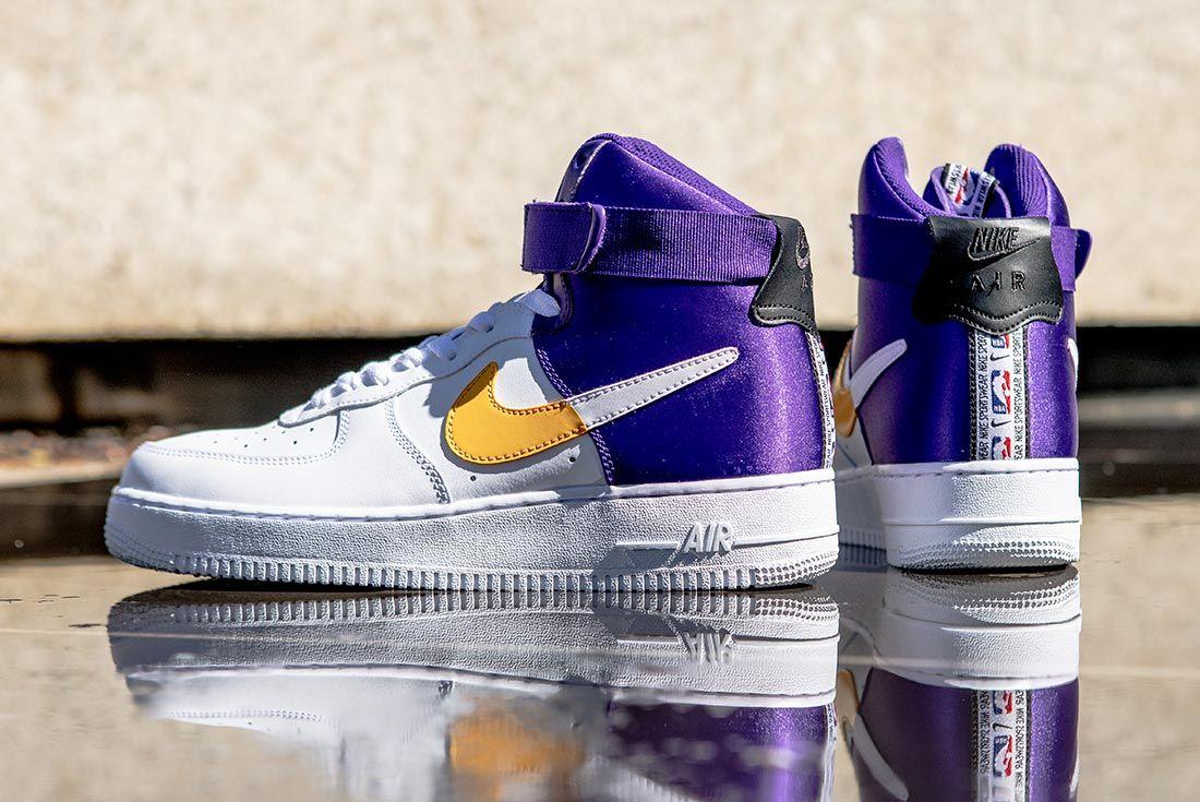 Nike Nba Air Force 1 High Purple Gold White Heel