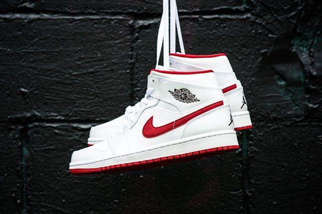 Air Jordan 1 Mid White Gym Red 5