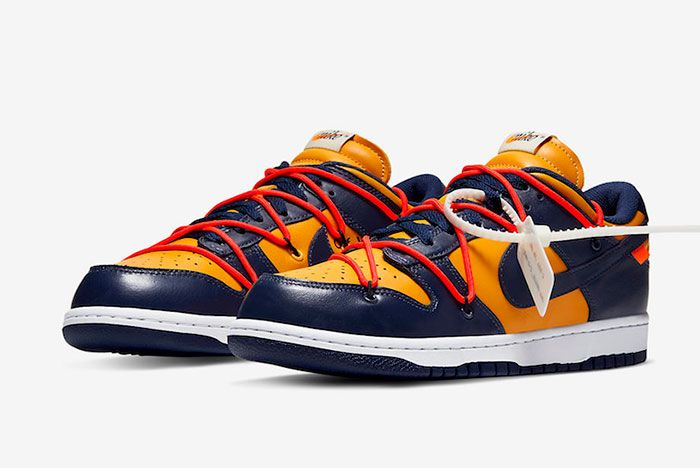 Off White Nike Dunk Low Gold Navy Ct0856 700 Front Angle