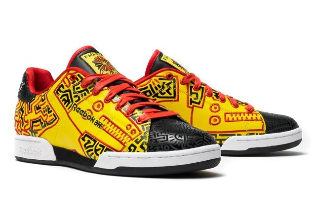 Reebok X Keith Haring Yellow And Black Low Top Angle 1