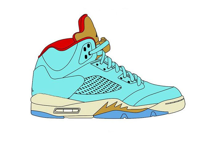 Trophy Room Air Jordan 5 Jsp Ice Blue Sail Metallic Gold University Red
