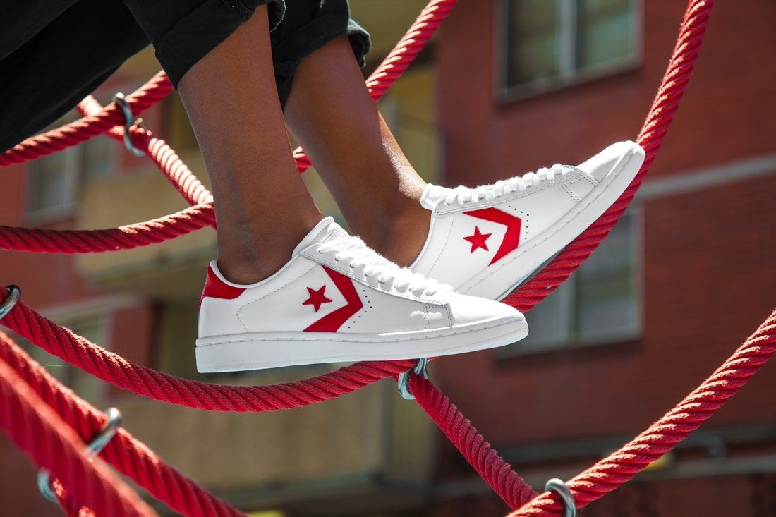 Cons Pro Leather Ladies Red White1