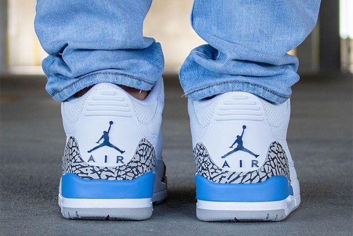 Air Jordan 3 Unc On Foot Heel