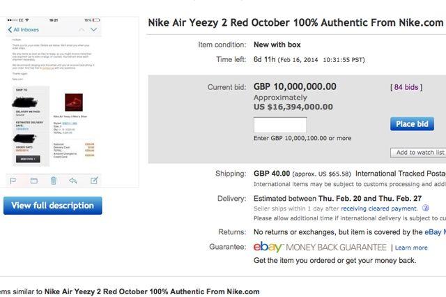 E Bay Yeezy Auction