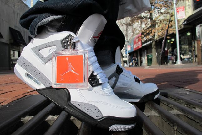 Air Jordan Iv White Cement On Feet 03 1