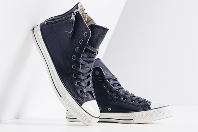John Varvatos X Converse Leather Double Zip High Navy