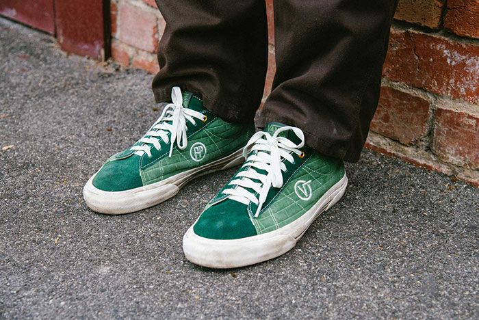 Vans Pass Port Sid Pro Bomber Pack Green Red On Foot