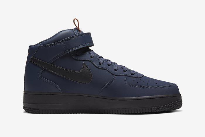 Nike Air Force 1 Mid Obsidian Black Dusty Peach Medial