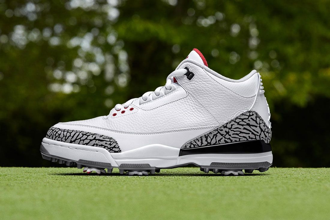 Air Jordan 3 White Cement Golf Lateral Side Shot