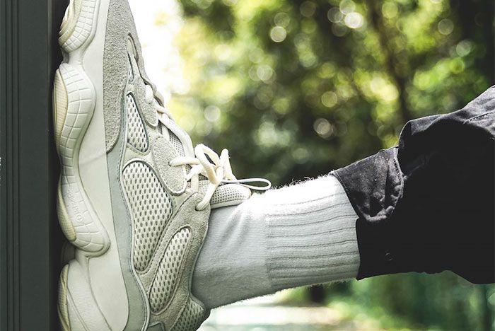 Adidas Yeezy Boost 500 Bone White On Foot Left 2
