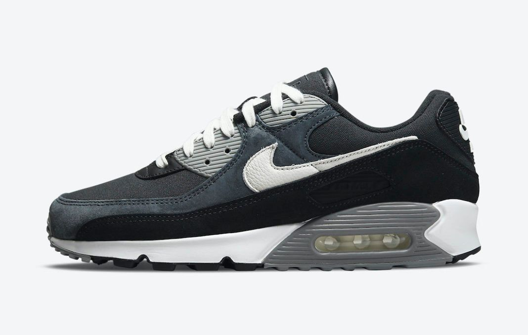 Nike Air Max 90 Premium black grey suede canvas