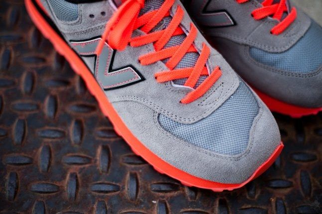 New Balance 574 Infrared Grey Mesh 1