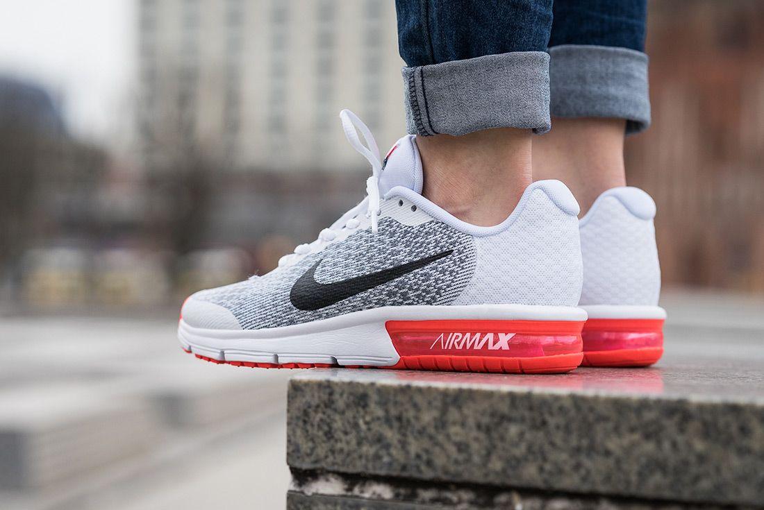 Nike Air Max Sequent 2 Gs (White/Bright Crimson) - Sneaker Freaker