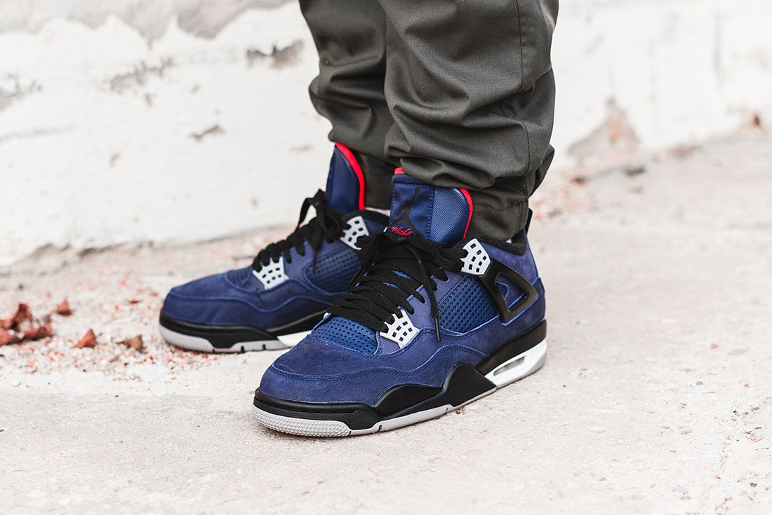 Air Jordan 4 Wntr Blue On Foot Front Angle