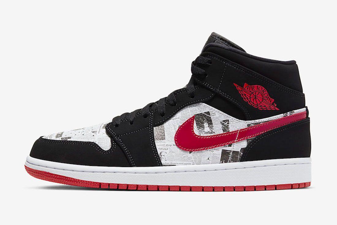 Air Jordan 1 Mid Se Newspaper 852542 061 Release Date Side