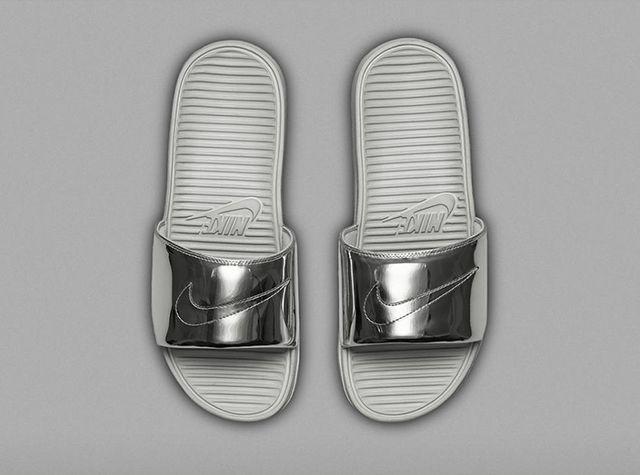 Nike Benassi Solarsoft Slide Liquid Metal Pack
