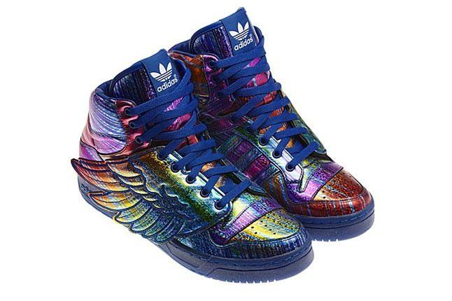 Jeremy Scott X Adidas Originals Hologram Rainbow Pair Angle 1