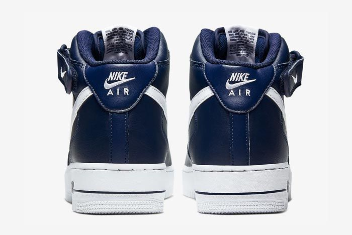 Nike Air Force 1 Mid Navy White Heels