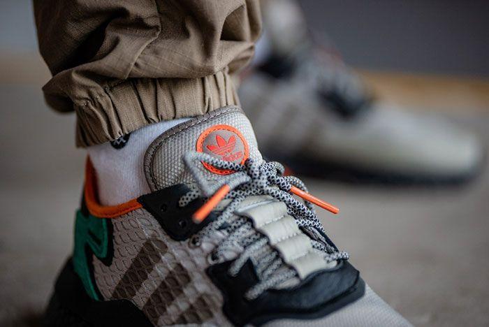 Adidas Nite Jogger Grey Green Ee5569 On Foot Tongue Detail
