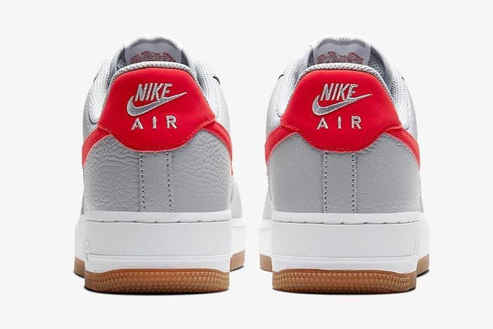Nike Air Force 1 Wolf Grey University Red Heels