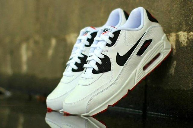 Nike Air Max 90 Leather Black White Red 1