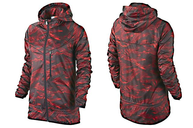 Nike Packable Camouflage Trail Womens Jacket Red