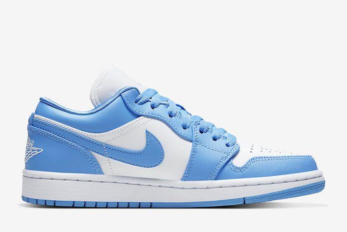 Air Jordan 1 Low Unc University Blue White Ao9944 441 Medial