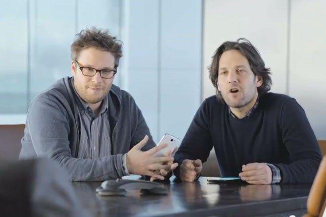 Samsung Galaxy Superbowl Ad 2013 Seth Rogan And Paul Rudd Perplexed 1