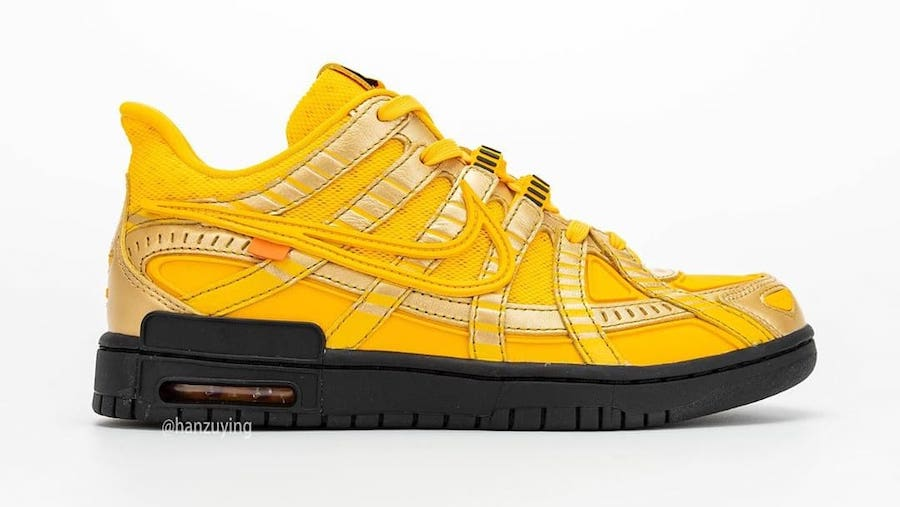 off-white nike air rubber dunk university gold right