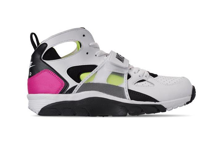 Nike Air Trainer Huarache Black White Laser Fuchsia Volt Lateral
