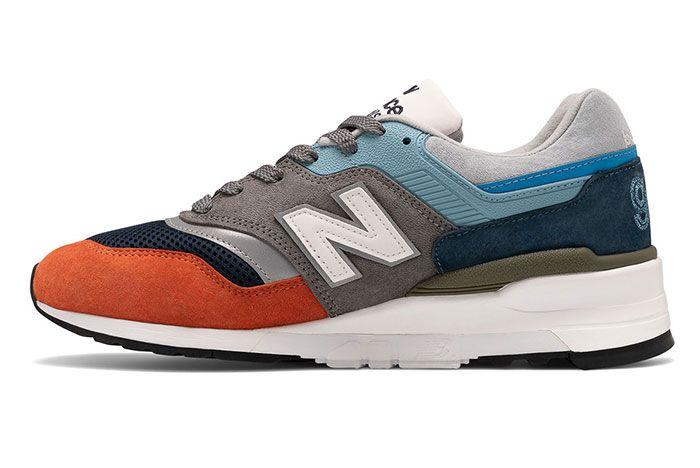 New Balance 997 Made In Usa Orange Navy Blue Medial