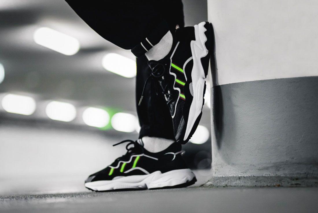 Adidas Ozweego Black Green Ee7002 Mood 1 On Foot