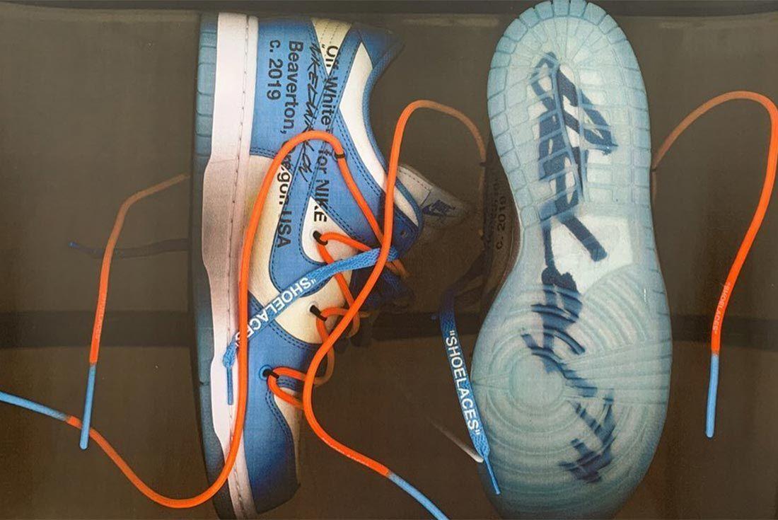 Virgil Abloh Nike Dunk Blue Lateral Side Shot