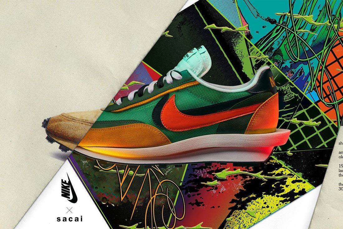 Sacai Nike Ldv Waffle Daybreak Green Orange Black Lateral Side Shot