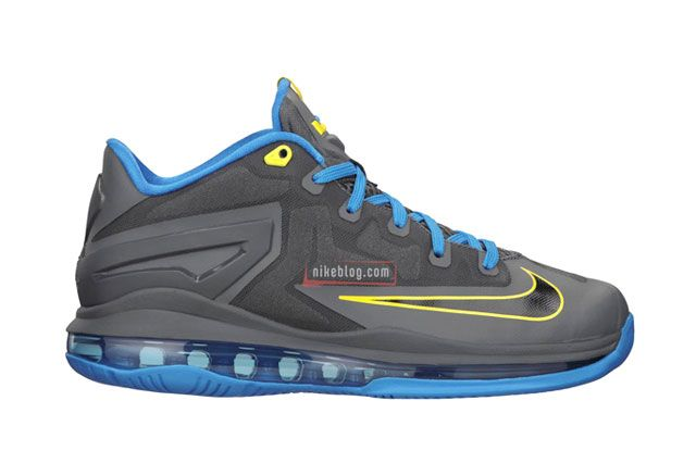 Le Bron 11 Low Gs Gry Blu Sideview