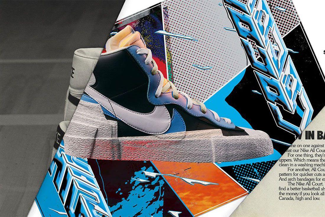 Sacai Nike Blazer Blue Lateral Side Shot