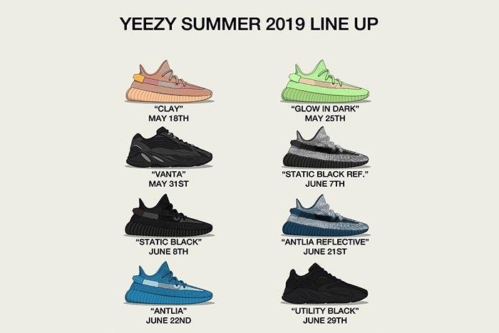 Adidas Yeezy 350 700 V2 2019 Summer Glow Vanta Utility Black Antlia Release Date Lineup