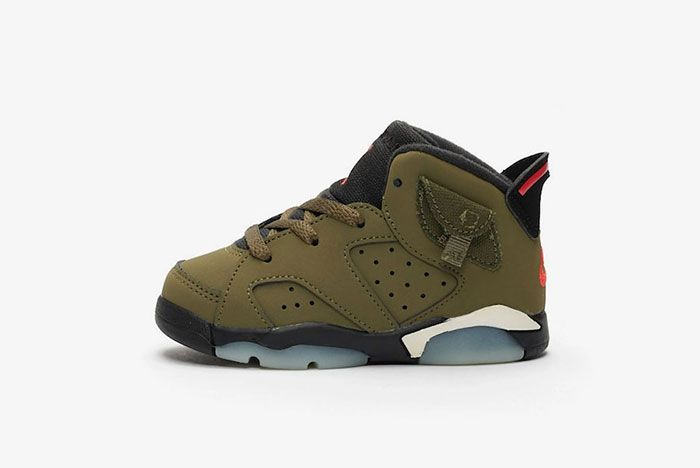 Travis Scott Air Jordan 6 Medium Olive Left