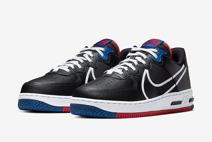 Nike Air Force 1 React Black Gym Red Gym Blue Ct1020 001 Front Angle