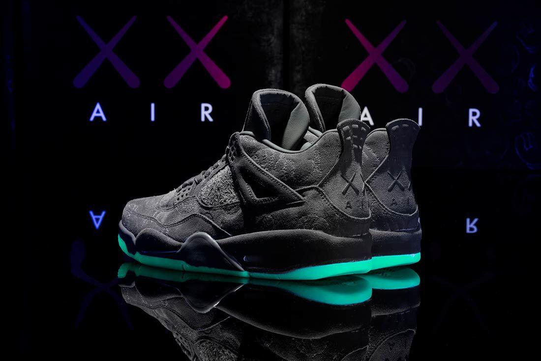 Kaws X Air Jordan 4 Glow In Action6