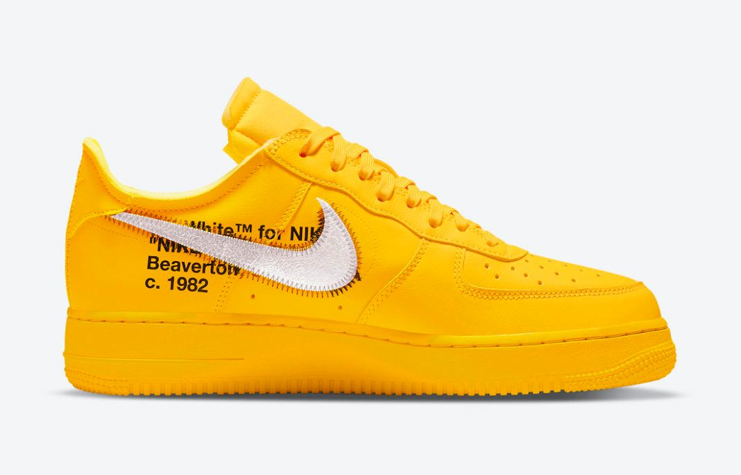 Off-White x Nike Air Force 1 Low University Gold Official pics on white