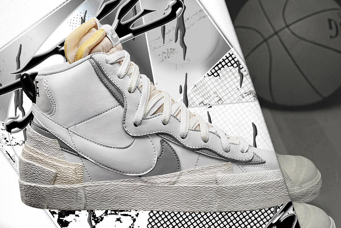Sacai X Nike Blazer White Right Side Shot