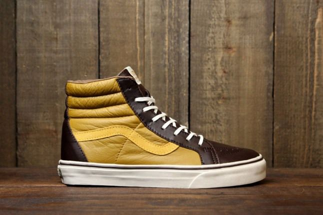 Vans Leather Sk8 Hi Yellow Brown 1
