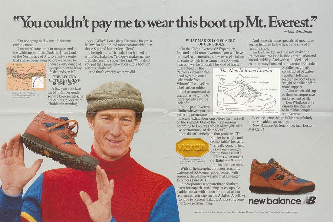 New Balance Lou Whittaker Rainier Vintage Ad