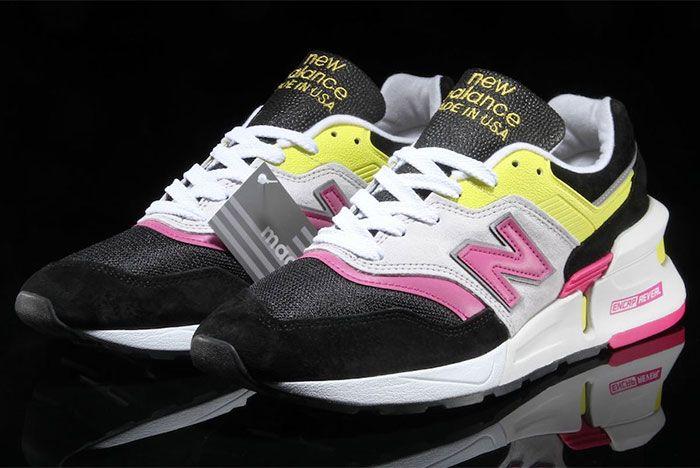 New Balance 997 Black Pink Neon Yellow Three Quarter Angle Shot