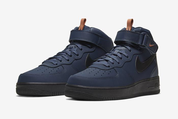 Nike Air Force 1 Mid Obsidian Black Dusty Peach Pair